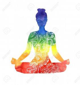 51445026-vector-silhouette-der-yoga-frau-mit-weißen-dekorativen-muster-helle-bunte-aquarell-textur-im-regenbog